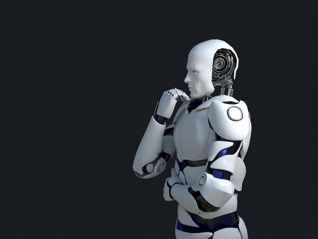 Tecnologia robotica bianca che pensa e in effetti il suo mento