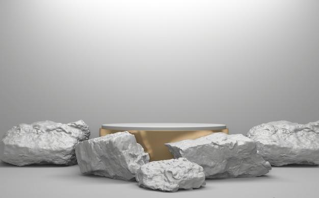 Pietre di roccia bianca sul podio geometrico per la presentazione del prodotto. rendering 3d