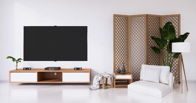 Camera bianca pavimento bianco minimalista giapponese soggiorno