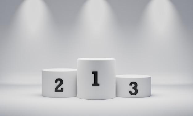 Podio del vincitore del cilindro rotondo bianco su sfondo di riflettori con numero posto