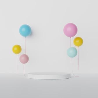 Display rotondo bianco e palloncini colorati con spazio vuoto.