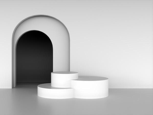 Podi rotondi bianchi sullo sfondo di archi. rendering 3d