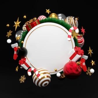 Corona rotonda bianca con ornamenti di natale e capodanno. palla fantasia oro, stella, rendering 3d.