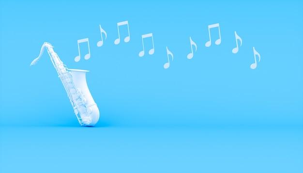 Sassofono bianco su sfondo blu, illustrazione 3d