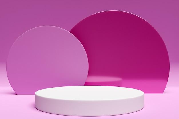 Scena bianca da un cerchio con arco a tutto sesto sul retro in rosa