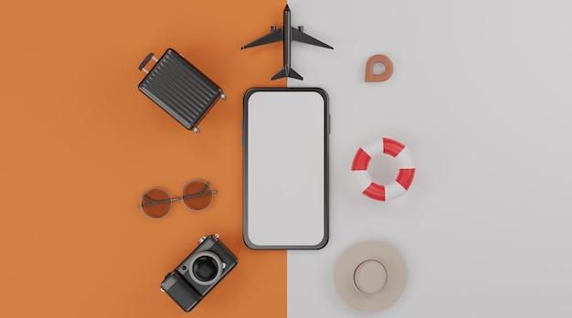 Mockup mobile con schermo bianco, anello in gomma da nuoto, aeroplano, cappello, valigia, macchina fotografica e occhiali da sole