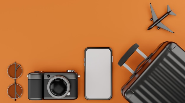 Mockup mobile con schermo bianco con aereo, fotocamera, bagagli e occhiali da sole