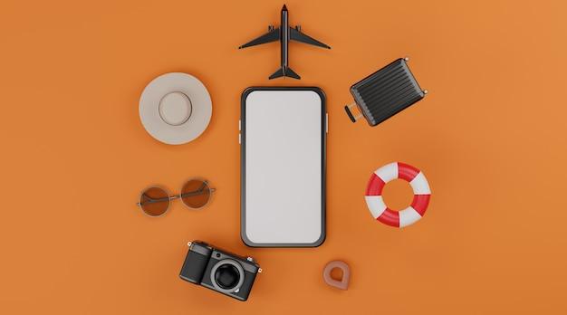 Mockup mobile con schermo bianco con aeroplano, anelli gonfiabili da nuoto, fotocamera, bagagli, cappello e occhiali da sole