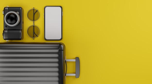 Mockup mobile con schermo bianco con fotocamera, bagagli e occhiali da sole