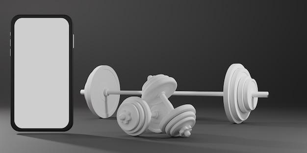 Mockup mobile schermo bianco con attrezzature per il fitness sportivo, manubri e bilanciere