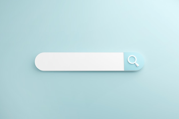 Ricerca bianca o lente d'ingrandimento nella barra di ricerca vuota