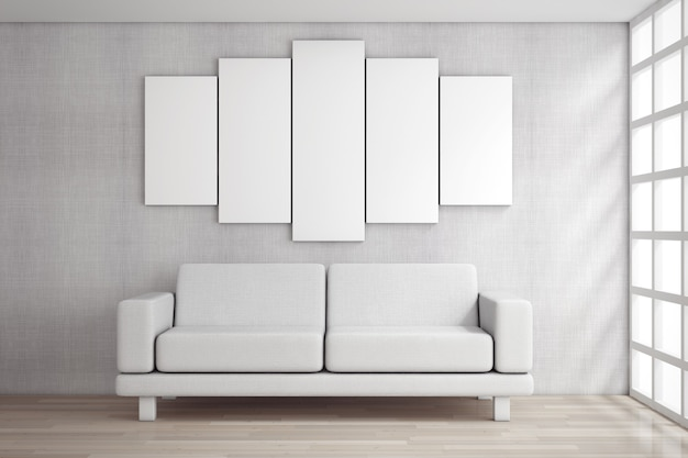 Bianco semplice e moderno divano mobili sotto vuoto bianco poster davanti al muro di mattoni. rendering 3d