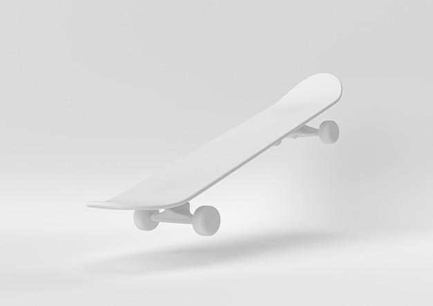 Skateboard bianco. 3d rendono, illustrazione 3d.
