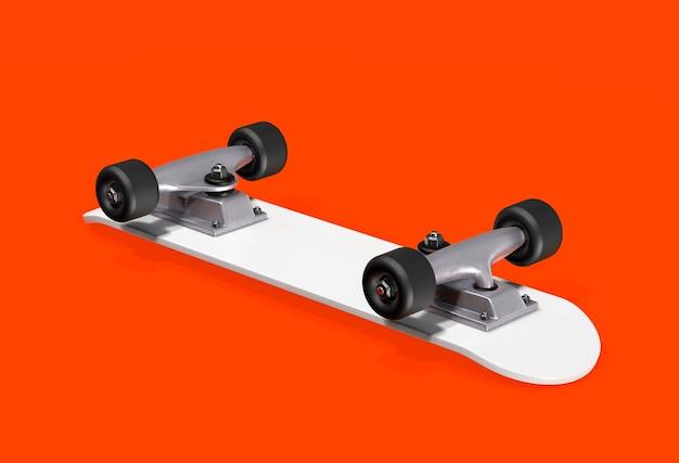 Rendering 3d di skateboard bianco.