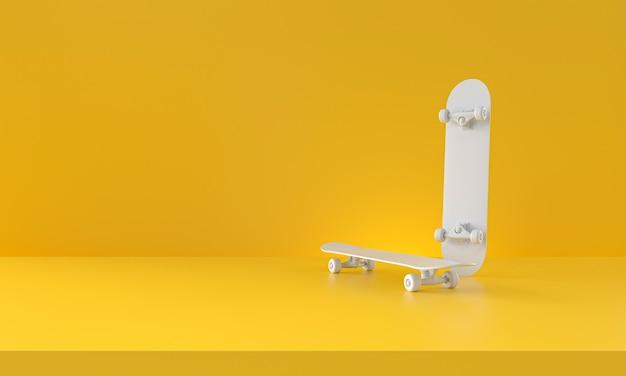 Skateboard bianco su sfondo giallo. rendering 3d.