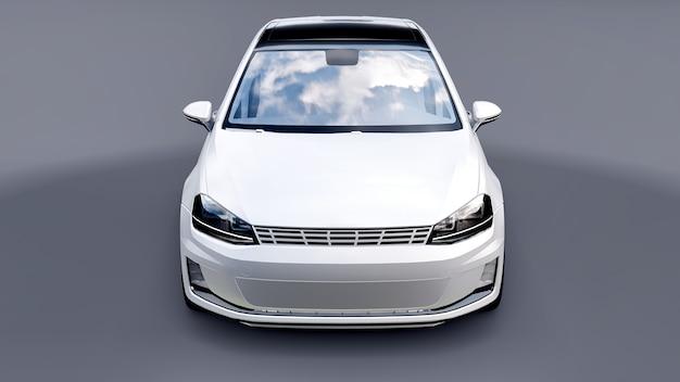 Piccola berlina bianca per auto di famiglia su sfondo grigio. rendering 3d.