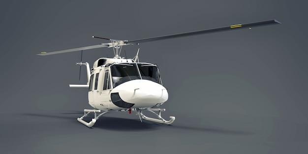 Piccolo elicottero da trasporto militare bianco su sfondo grigio isolato. il servizio di salvataggio in elicottero. taxi aereo elicottero per polizia, vigili del fuoco, ambulanza e servizio di salvataggio. illustrazione 3d