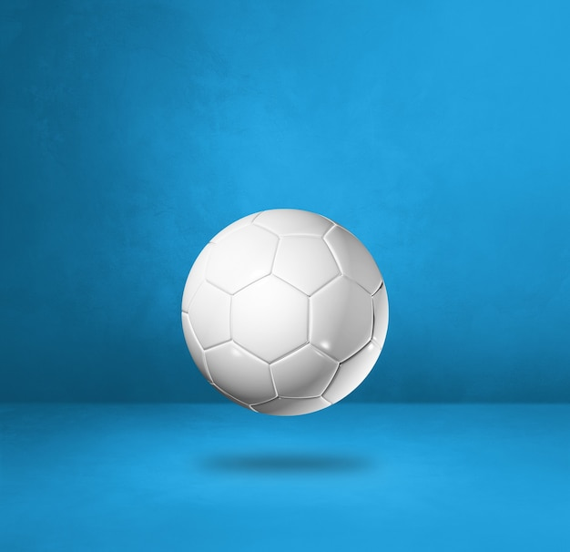 Pallone da calcio bianco isolato su uno sfondo blu studio. illustrazione 3d