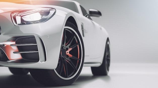 Automobile sportiva bianca. rendering 3d. illustrazione.