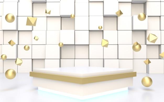 Podio quadrato bianco per esposizione di prodotti con oggetto galleggiante in oro