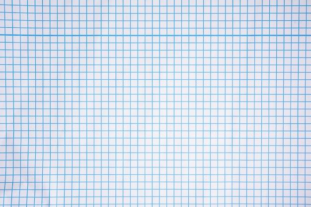 Texture di carta quadrettata bianca, linee blu, quaderno di scuola