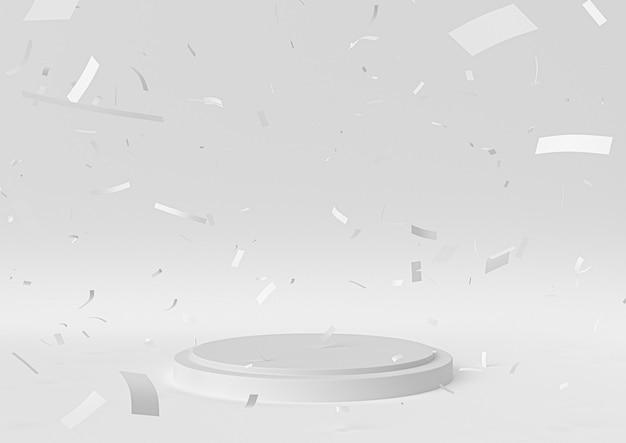 La scena bianca del podio della fase per la celebrazione del premio, 3d rende, l'illustrazione 3d.
