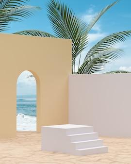 Podio scala bianca sulla spiaggia di sabbia per l'inserimento di prodotti su uno sfondo di mare con alberi tropicali 3d rendering