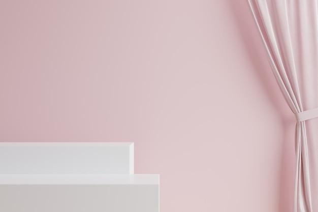 Scale bianche con tenda rosa e muro rosa