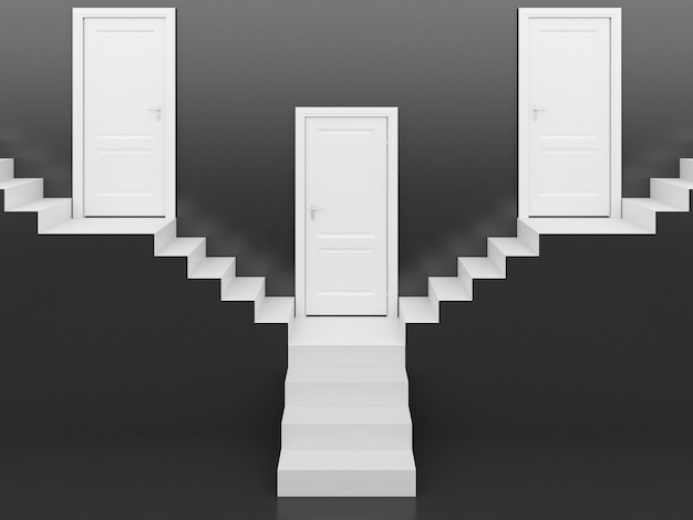 Scale bianche con porta bianca in sfondo nero, rendering 3d