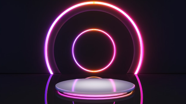 Supporto bianco con bordo di luce al neon su uno sfondo nero finto podio per la presentazione del prodotto