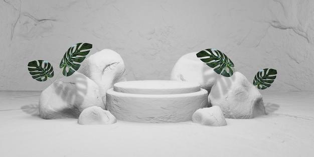 Pietra bianca con podio da esposizione. presentazione del prodotto, rendering 3d
