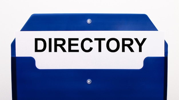 Su una superficie bianca, una cartella blu per i documenti