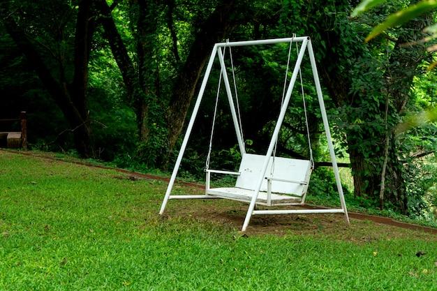 Sedia bianca del banco dell'oscillazione sotto l'albero verde