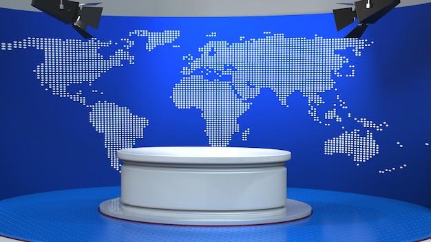 Tavolo bianco con sfondo di notizie sulla mappa del mondo in studio di notizie