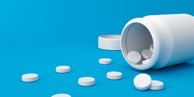 Compresse bianche di molti antidolorifici con una bottiglia della farmacia su un fondo medico. pillole bianche per alleviare la malattia o la febbre. rendering 3d.