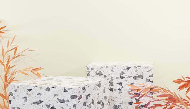 Mockup di podio in terrazzo bianco per mostrare prodotti e foglie d'arancio con rendering 3d premium