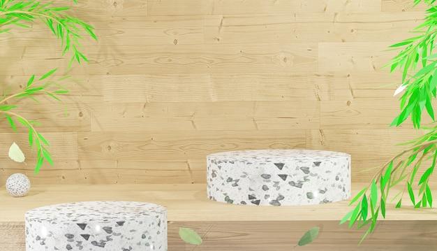 Mockup di display podio in terrazzo bianco per prodotti da esposizione con sfondo in legno 3d rendering premium
