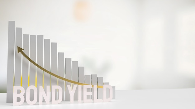 Il rendimento e il grafico delle obbligazioni di testo bianco per il rendering 3d del concetto di business