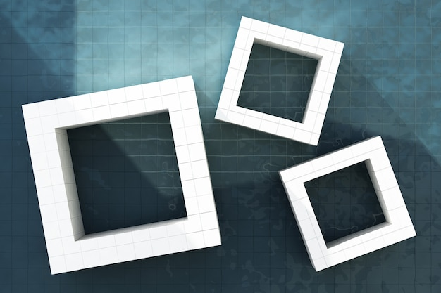 Cornice quadrata di piastrelle bianche con luce solare sullo sfondo della piscina. rendering 3d