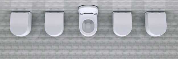 Tazza da toilette bianca in un rendering 3d del bagno
