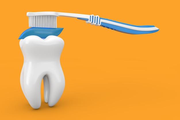 Dente bianco e spazzolino da denti in plastica con dentifricio al carbone blu su uno sfondo giallo 3d rendering