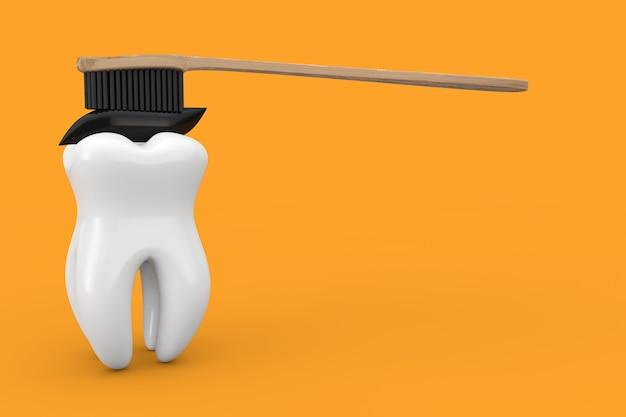 Dente bianco e spazzolino da denti in legno di bambù con dentifricio al carbone nero su uno sfondo giallo 3d rendering