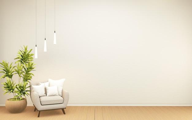 Design interno della camera zen tropicale bianca, mock up room in stile giappone. rendering 3d
