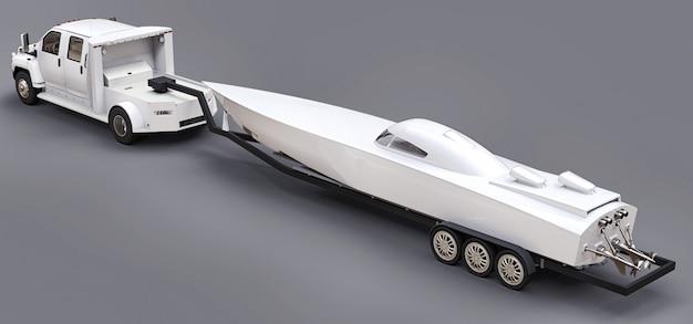 Camion bianco con un rimorchio per il trasporto di una barca da corsa su uno spazio grigio. rendering 3d.