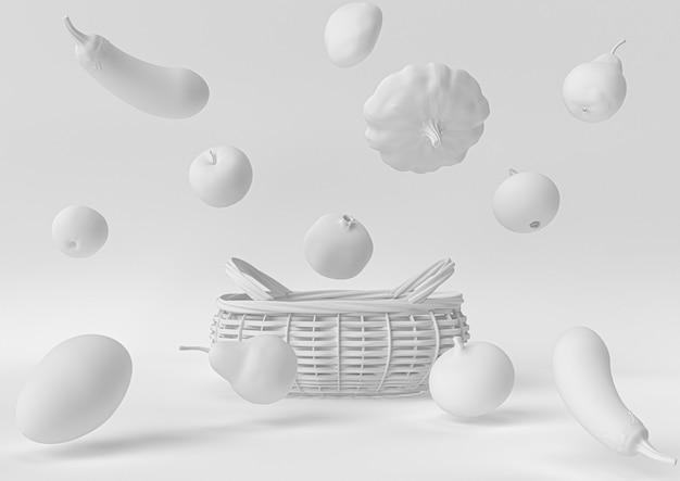 Mercato delle verdure bianche. 3d rendono, illustrazione 3d.