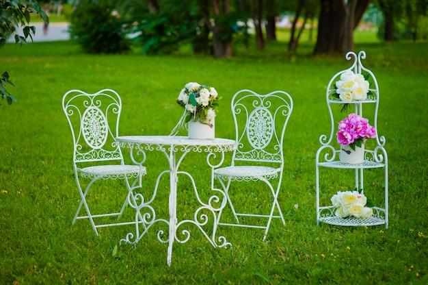 Tavola da tè e sedie d'annata bianche del metallo su un'erba nel parco di estate