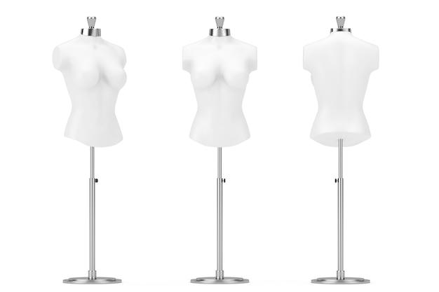 Mennequin delle donne del sarto dell'annata bianca su un fondo bianco. rendering 3d