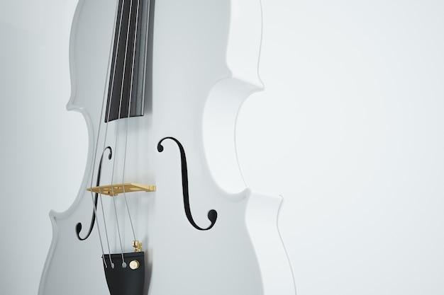 Violino bianco su bianco. rendering fotorealistico di alta qualità