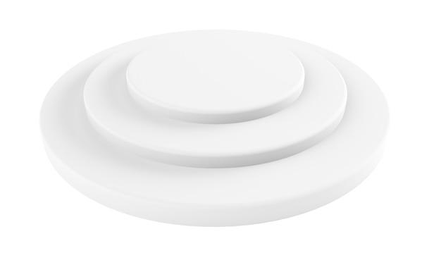 Rendering 3d del pavimento del cilindro vuoto della parete bianca