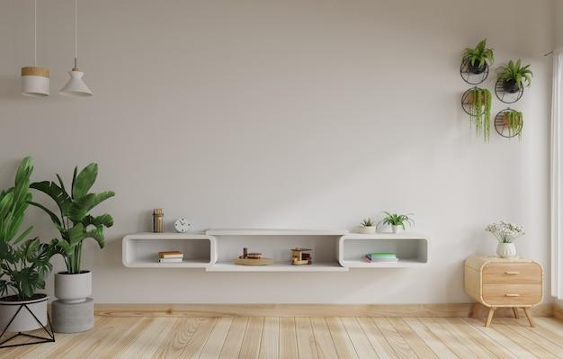 Soggiorno con pareti bianche con tavolo tv, lampade a sospensione e piante sul pavimento accanto. rendering 3d.